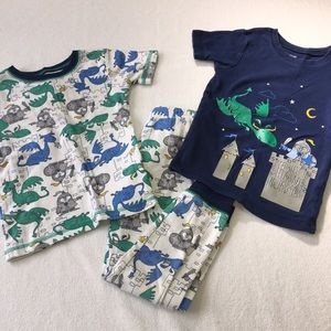 5T boys knight cotton pajama pants and two shirts
